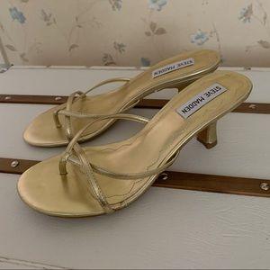 Steven Madden Gold Kitten Heel Sandals